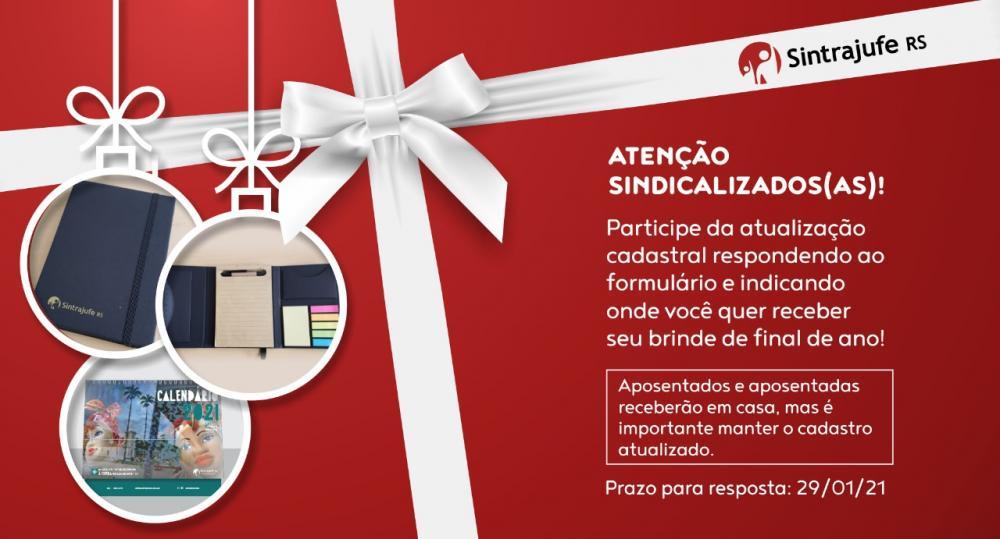 Brindes do Sintrajufe/RS: você escolhe se quer receber em casa ou no trabalho; envio começa depois do recesso